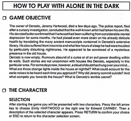 Manual To Alone In The Dark Old Dos Games Packaged For Latest Os