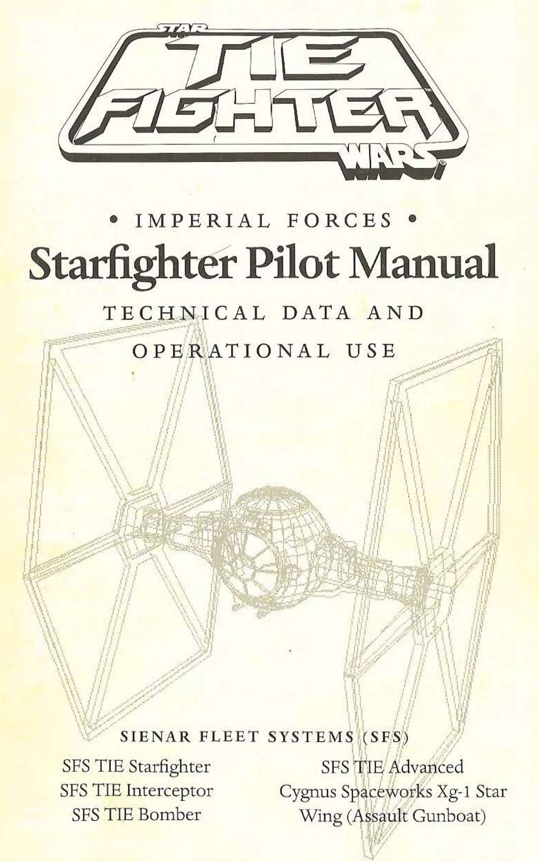 Manual to TIE Fighter | Free Game Empire - Old DOS Games for play or on